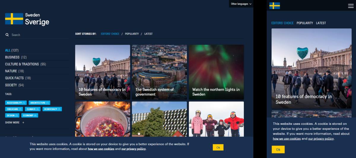 Sitio web del gobierno de Suecia